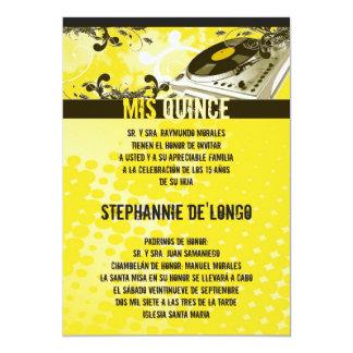 5x7 Yellow DJ Turntable Quinceanera Invitation