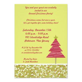 5x7Red Tree Christmas Holly  Invitation