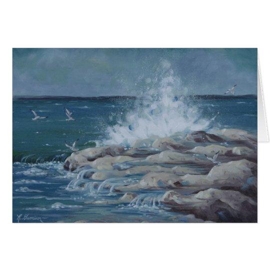 6037 Splashing Waves on Rocks Birthday Card