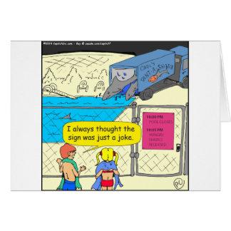 608 shark in pool cartoon greeting card