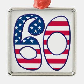 60 Age USA Silver-Colored Square Decoration