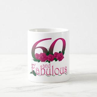 60 and fabulous 60th birthday pink roses  mug