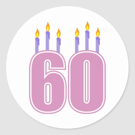 60 Birthday Candles (Pink / Purple) Stickers