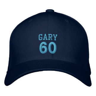 60 Birthday Custom Name NAVY Hat BLUE Embroidery Embroidered Hat