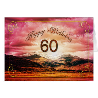 60 birthday, Sunset over the mountains Greeting Card
