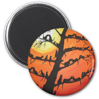 60 Cats In The Love Tree 6 Cm Round Magnet