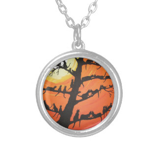 60 Cats In The Love Tree Silver Plated Necklace