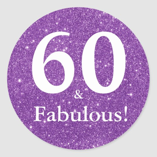 60 & Fabulous! Purple Glitter Sixtieth Birthday Classic
