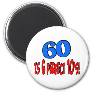 60 is 6 perfect 10's (BLUE) Refrigerator Magnets