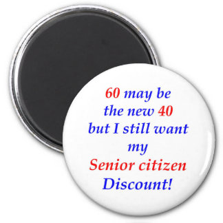 60 Senior Citizen 6 Cm Round Magnet