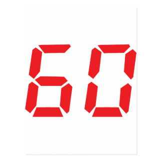 60 sixty red alarm clock digital number postcards