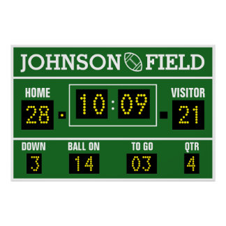 "60"" x 40"" Personalised Football Scoreboard Poster"