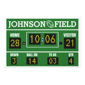 "60"" x 40"" Personalized Football Scoreboard Canvas Print"