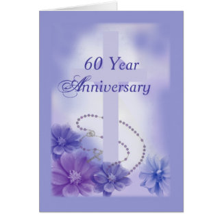 60 Year Anniversary Plum, Religious Greeting Card