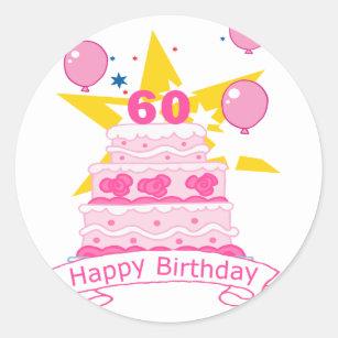 60 Year Old Birthday Cake Classic Round Sticker