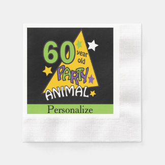60 Year Old Party Animal | 60th Birthday Disposable Serviettes