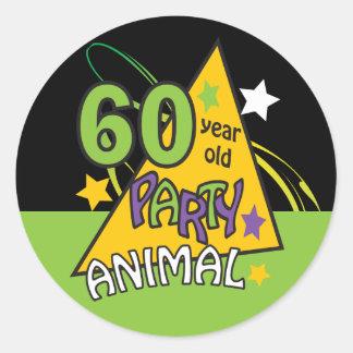 60 Year Old Party Animal | 60th Birthday Round Sticker