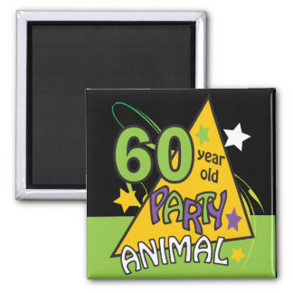 60 Year Old Party Animal - 60th Birthday Square Magnet