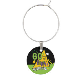 60 Year Old Party Animal Wine Glass Charms