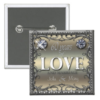 60 Years of Love ID196 15 Cm Square Badge
