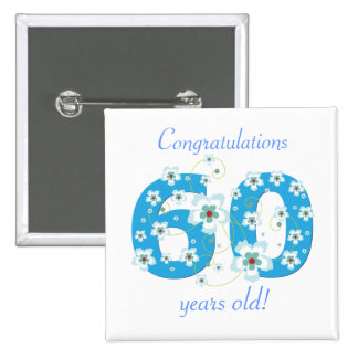 60 years old birthday congratulations button