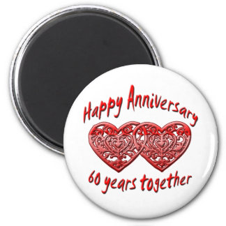 60 Years Together 6 Cm Round Magnet