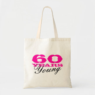 60 Years Young tote bag for 60th Birthday party