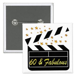 60 YR OLD MOVIE STAR 15 CM SQUARE BADGE