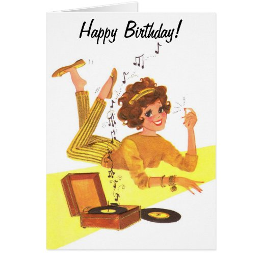 60's Music Girl Happy Birthday Card