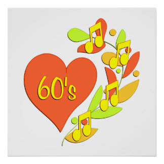 60s Music Heart Posters