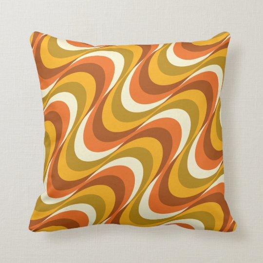 60's orange waves cushion