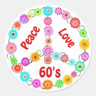 60s Peace Love Classic Round Sticker