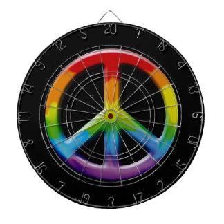 60's Peace Sign Retro Art Dart Board