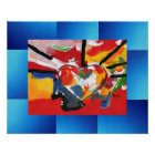 60s peter max style painting exploded heart poster