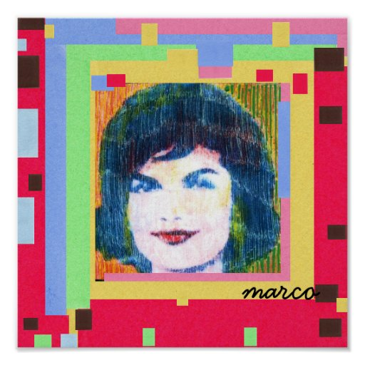 60s Peter Max styleJackie Kennedy painting Posters