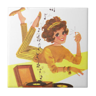 60's Record Playing Girl Small Square Tile