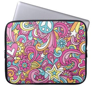 60s Retro Hippy Peace Pattern Laptop Sleeve