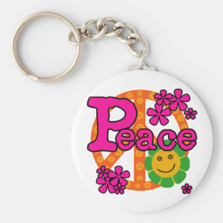 60s Style Peace Basic Round Button Key Ring