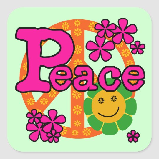 60s Style Peace T-shirts and Gifts Square Sticker