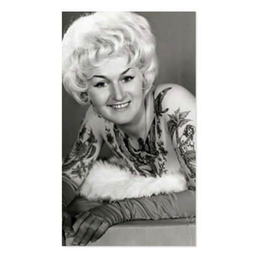 '60s Tattooed Lady Business Card Template