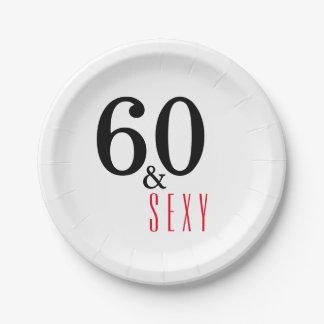 60th and Sexy Birthday Party Paper Plates