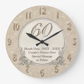 60th Anniversary Clock with YOUR TEXT or Delete it