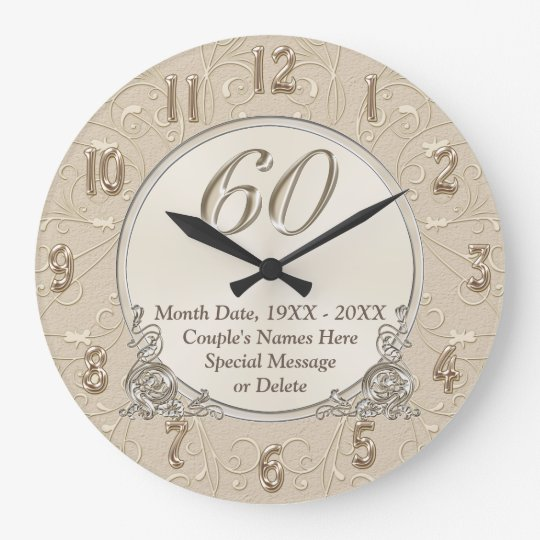 60th Anniversary Clock with YOUR TEXT or Delete