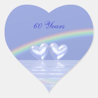 60th Anniversary Diamond Hearts Heart Sticker