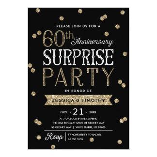 60th Anniversary Glitter Confetti Surprise Party 13 Cm X 18 Cm Invitation Card