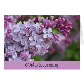 60th Anniversary Greeting Card with Lilac Design