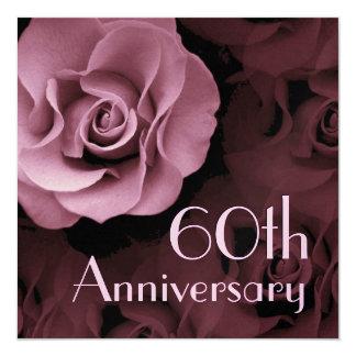 60th Anniversary Invitation - PINK Rose