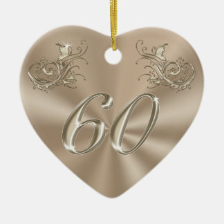 60th Anniversary Ornament, Personalized or Not Ceramic Heart Decoration