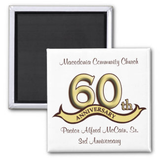 60th Anniversary Party Favors Square Magnet