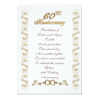 60th anniversary party for parents 13 cm x 18 cm invitation card